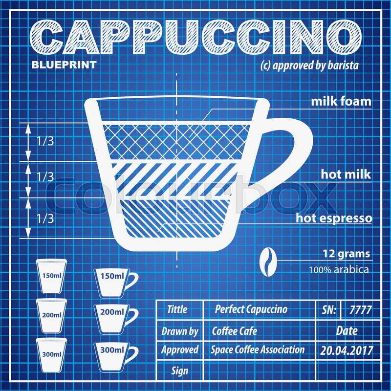 Coffee cappuccino composition and making scheme in blueprint paper coffee cappuccino composition and making scheme in blueprint paper drawing style print background composition of coffee for menu and posters malvernweather Choice Image