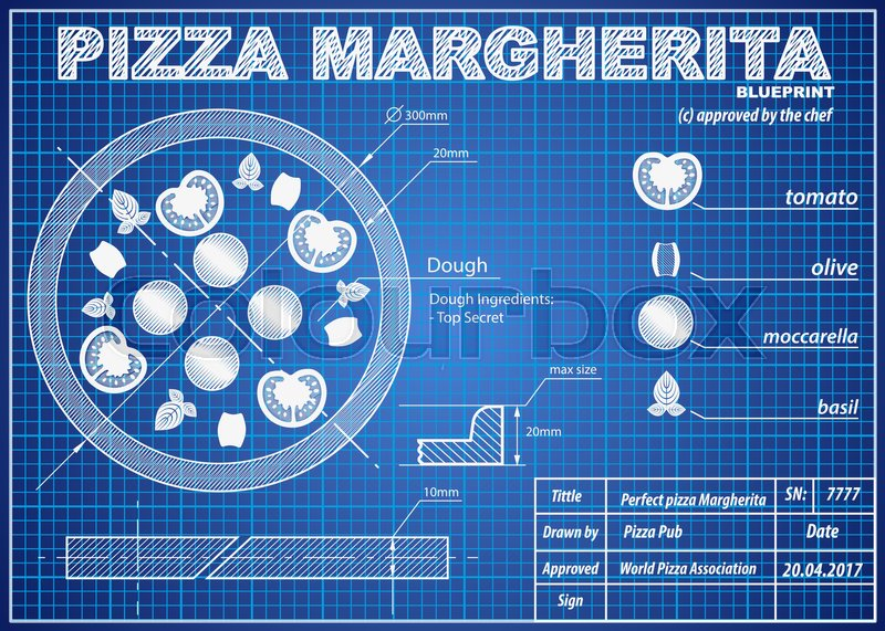 Pizza margherita ingredients scheme in blueprint paper drawing style pizza margherita ingredients scheme in blueprint paper drawing style print background composition of coffee for menu and posters malvernweather Choice Image