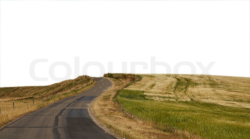 Summer Country road to a white background, stock photo