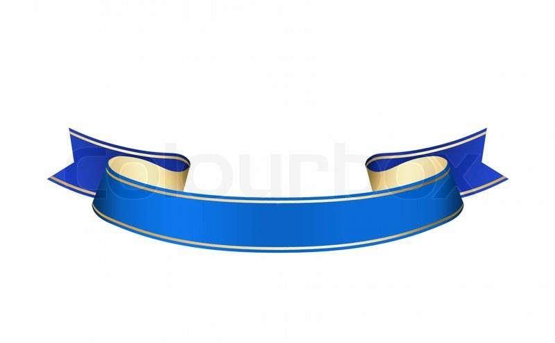 Blue Ribbon isolated on a white background, stock photo