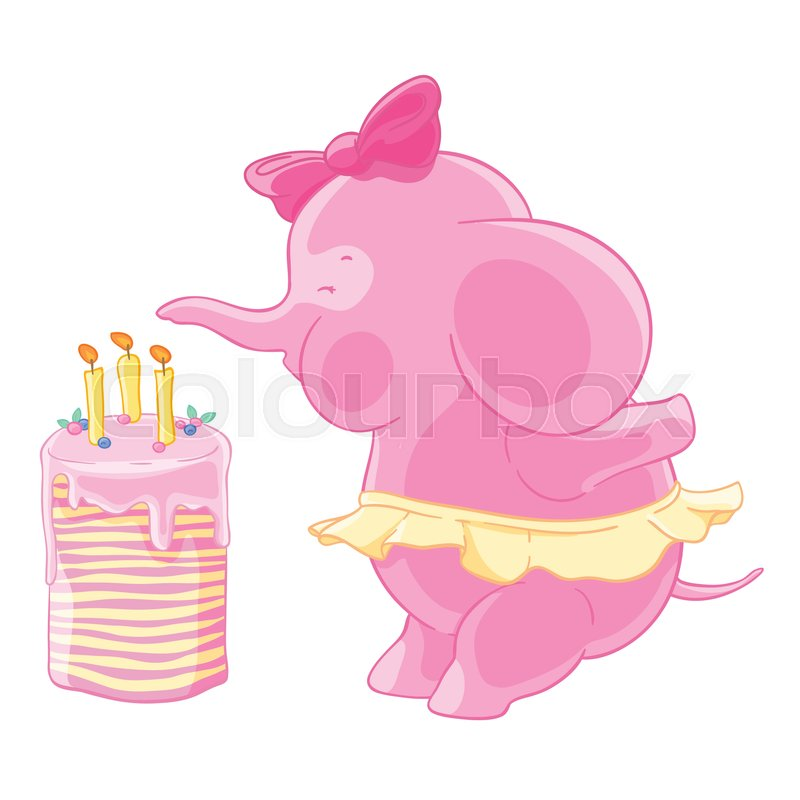 Cute Pink Elephant Girl With Bow And The Skirt Blows Out Candles On