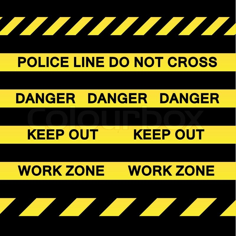 A variety of yellow caution tapes in vector format for