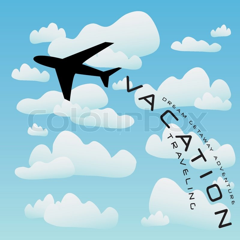 Vacation Illustration With A Silhouette Of Commercial Airplane Taking Off Into The Clouds