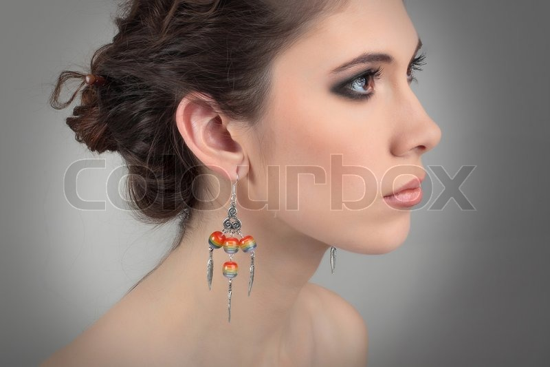Profil Of A Naked Girl With Beautiful Earrings  Stock -3175
