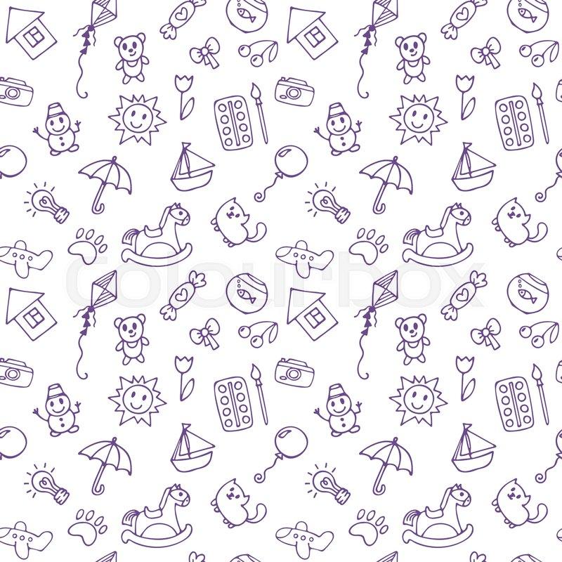 Seamless Pattern For Cute Little Boys Stock Vector Colourbox