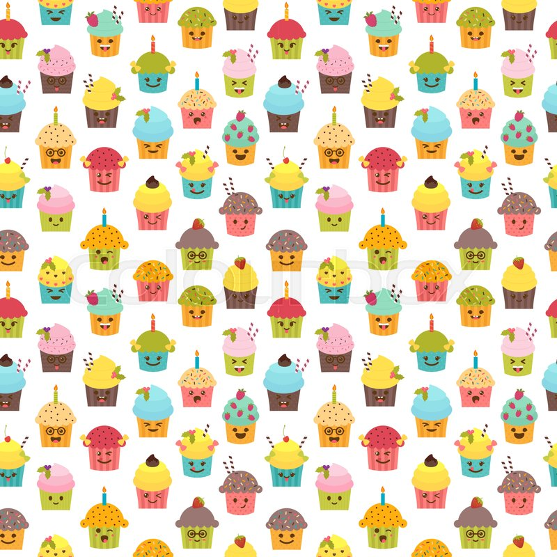 Seamless Pattern With Cupcakes And Muffins Kawaii Cute Cartoon Characters Emoji Birthday Background Vector Illustration