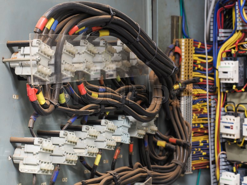 High resolution shot of electric panel that shows red, blue, yellow ...
