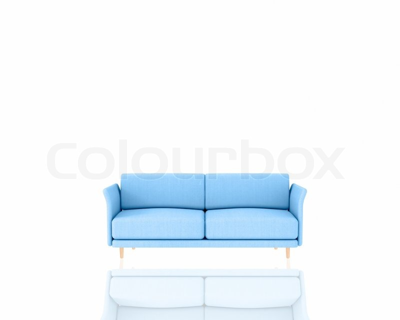 Blue sofa on white background comfort comfortable stock for Blue and white sofa