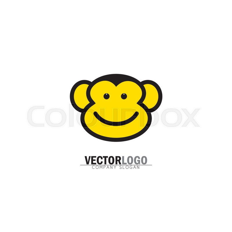 Smiling Happy Monkey Face Vector Logo Icon Also Represents Modern