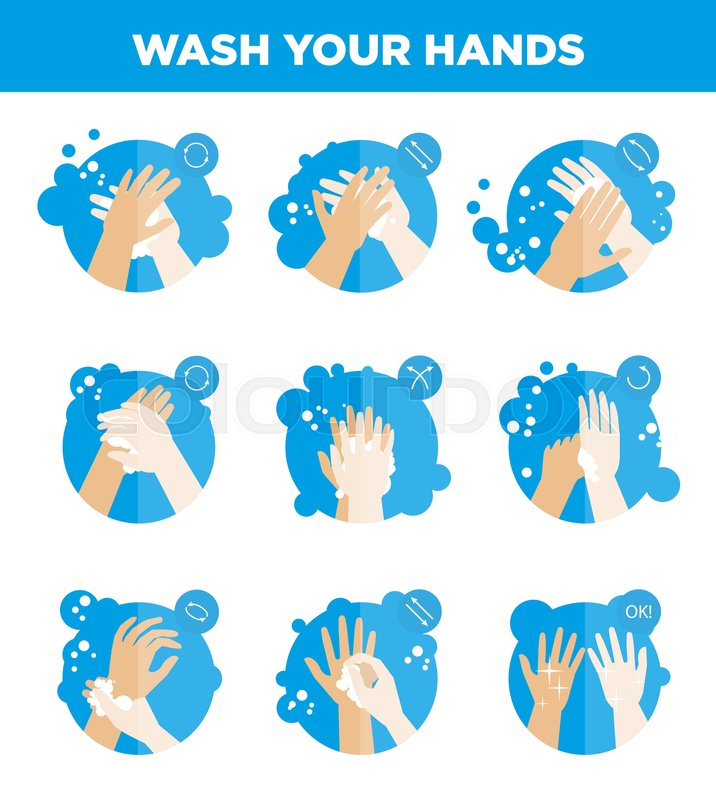 Hands Washing Icons Set Wash Your Hands Instructions For Soap Use