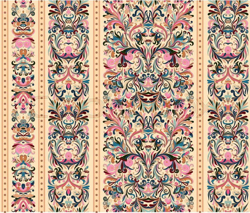 Striped Seamless Pattern On Baroque Style Floral Wallpaper Damask Background Vector Illustration Pastel Pink Blue Biege