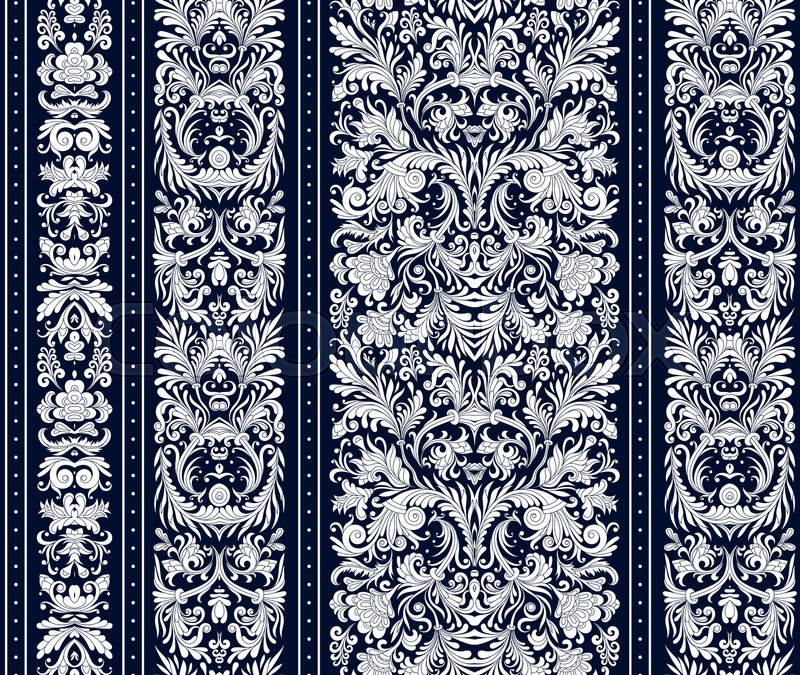 Striped Seamless Pattern On Baroque Style Floral Wallpaper Damask Background Vector Illustration White Dark Blue