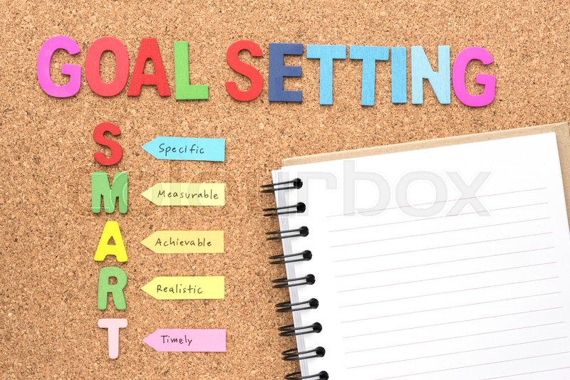 Words goal setting and smart with notebook, smart goal and success concept for personal and business, stock photo