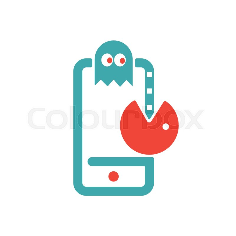 Pac Man Game Icon On Smartphone Screen Stock Vector