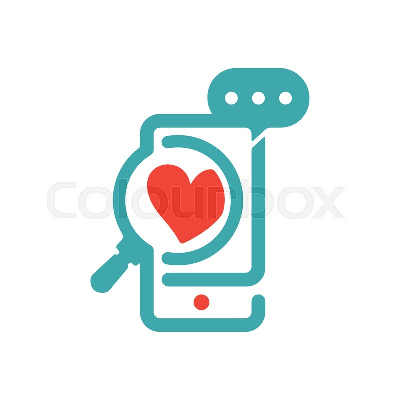 Concept Of Love And Loupe Glass On Smartphone Vector Icon Red Heart