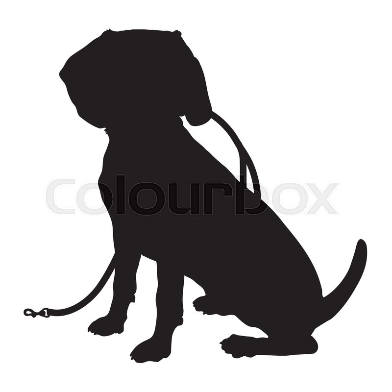a black silhouette of a sitting beagle puppy with a leash in its mouth vector