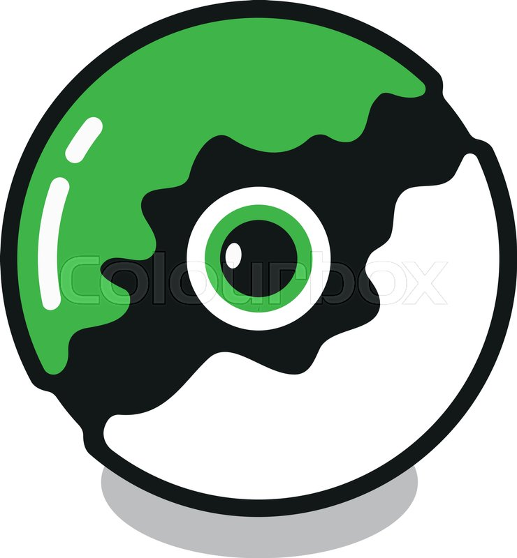 Poke Ball In Red And White Colors With Green Point From The Pokemon Go Thing That Will Hatch Into A