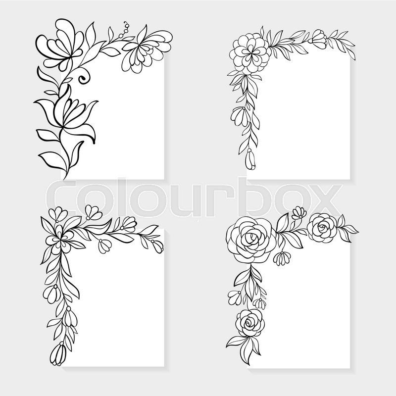 Set of black and white hand drawn corner floral borders design for set of black and white hand drawn corner floral borders design for holiday greeting card and invitation of the easter wedding mother day birthday m4hsunfo