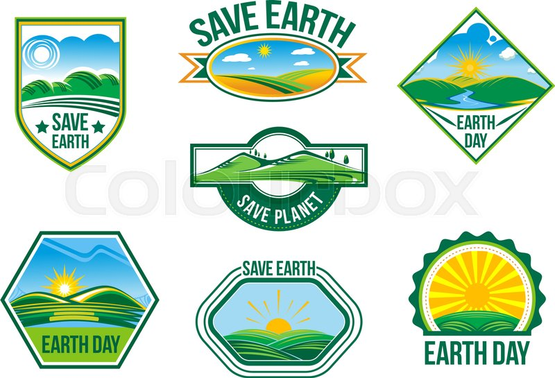 Save Earth Badges And Symbols Of Green Nature And Planet Clean