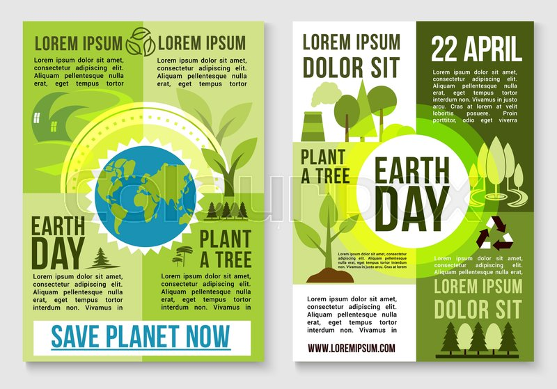 Save Earth And Plant Trees Design For 22 April Day Event Green Nature Environment Conservation Deforestation Protection Factory Waste Emission