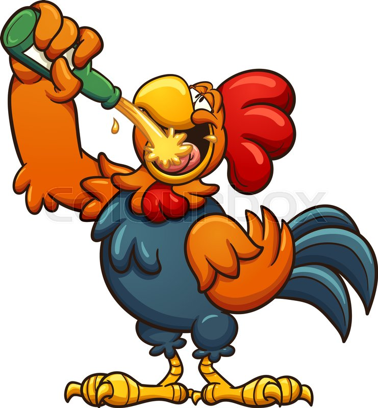 drunk cartoon rooster drinking a beer vector clip art illustration rh colourbox com drunk girl clipart drink clipart
