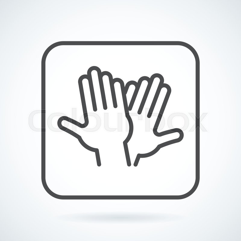 Black flat simple icon style line art outline symbol with stylized black flat simple icon style line art outline symbol with stylized image of a gesture hand of a human high five greeting in a square with rounded corners m4hsunfo