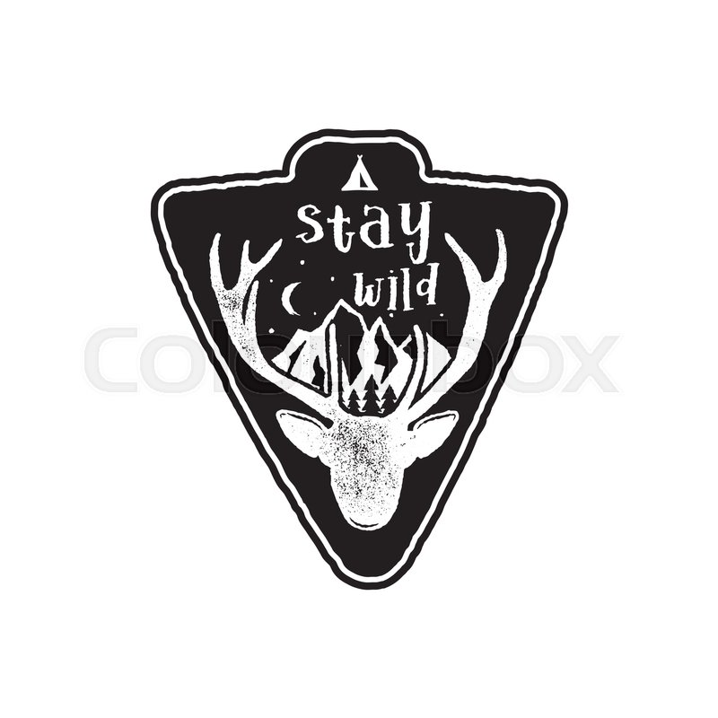 hand drawn vintage camping badge and hiking label with wild animals