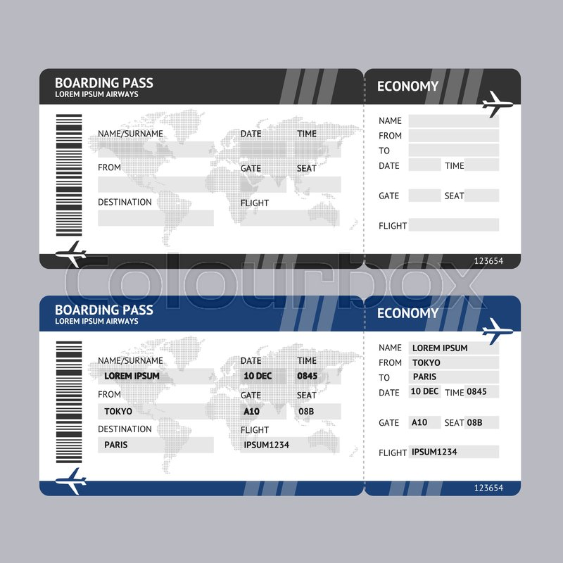 Airline Ticket Boarding Pass Blank Template And With Data For Travel