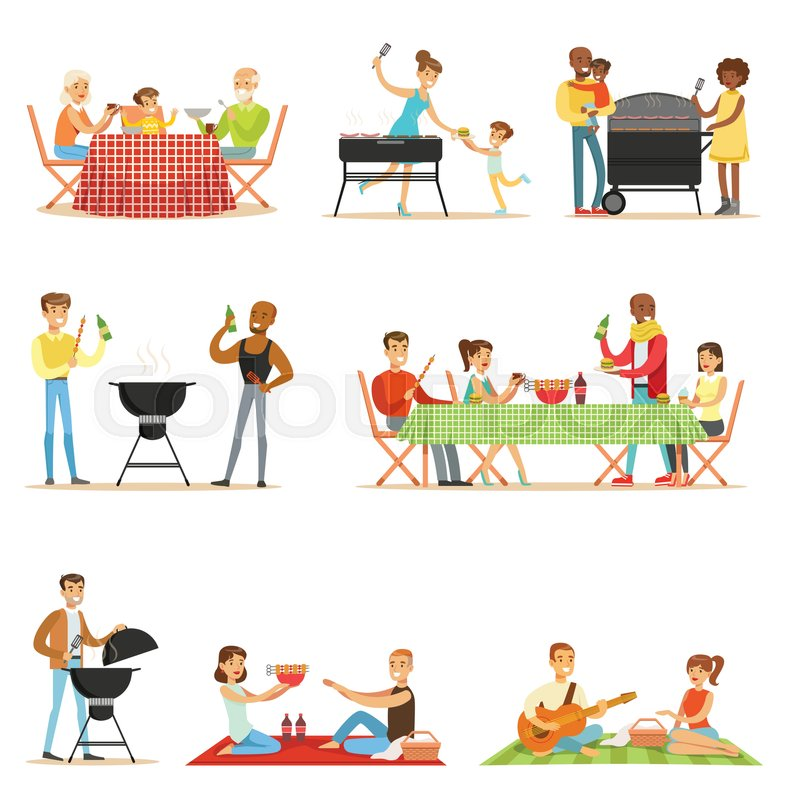 People On Bbq Picnic Outdoors Eating Stock Vector Colourbox