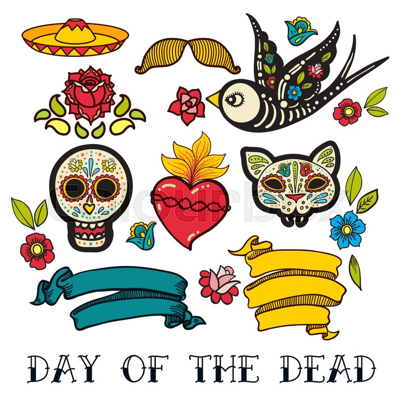 Icons Of Day The Dead A Traditional Holiday In Mexico Skulls Flowers Ribbons Heart For Design Your Products Labels