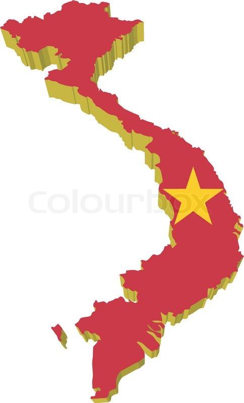 Vectors D Map Of Vietnam Stock Vector Colourbox - Vietnam map outline