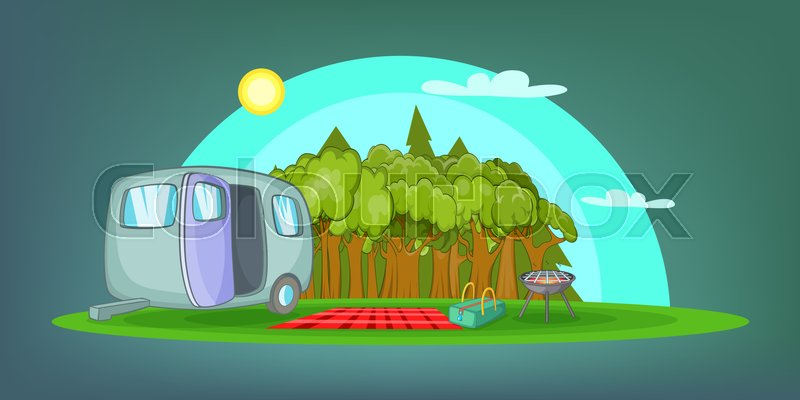 Camping horizontal banner concept picnic. Cartoon illustration of camping vector horizontal banner concept for web, vector