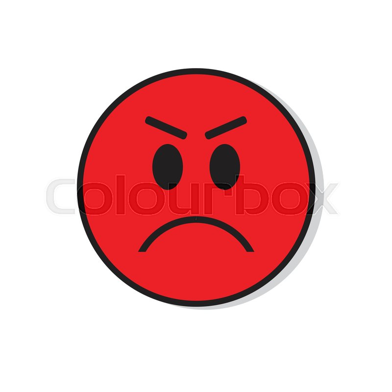 Red Angry Sad Face Negative People Emotion Icon Flat ...