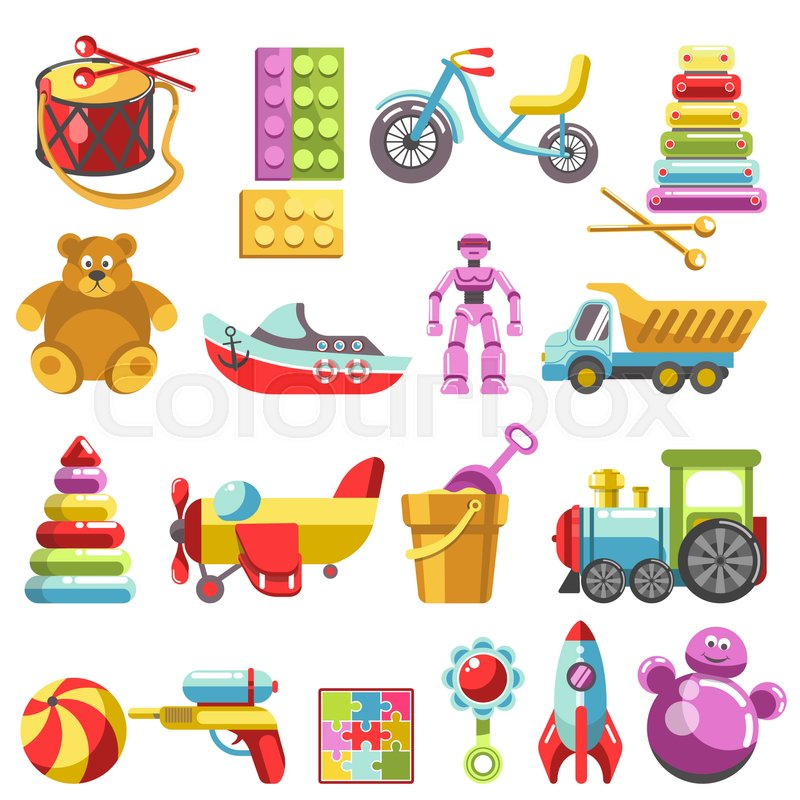 kid toys vector icons children playthings set for