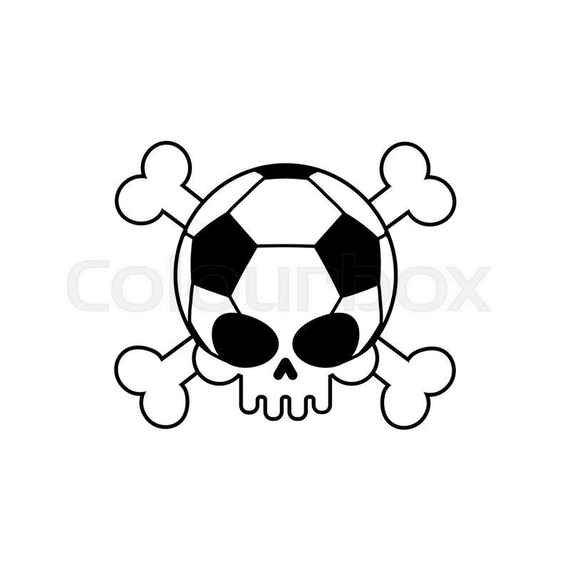 skull soccer ball  football skeleton head  emblem for
