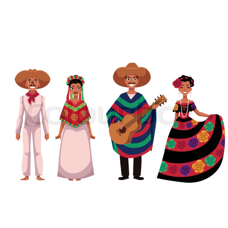 set of mexican people men and women in traditional national