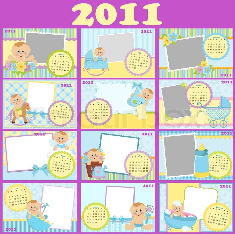 Baby\'s monthly calendar for 2011 with photo frames | Stock Vector ...