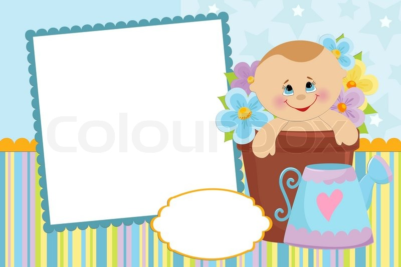 Blank template for baby's greetings card or photo frame in ...