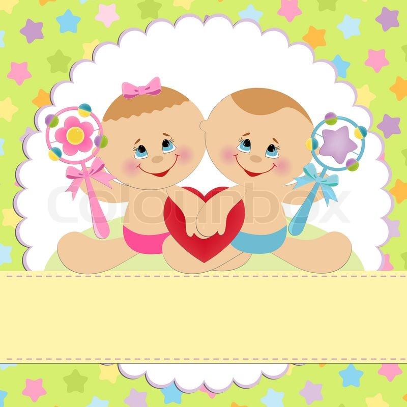 Открытка 1 годик двойняшкам