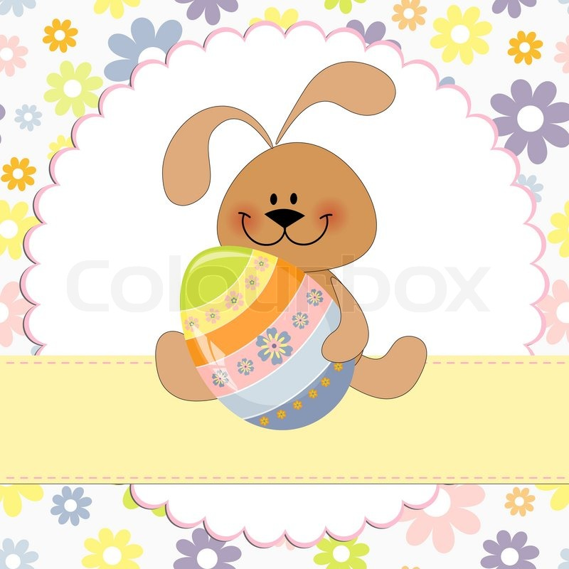 Cute Template For Easter Greetings Card With Rabbit  Stock Vector
