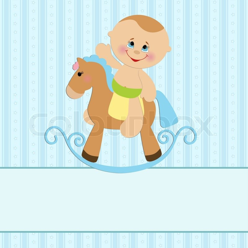 Baby greetings card with boy and horse stock vector colourbox m4hsunfo