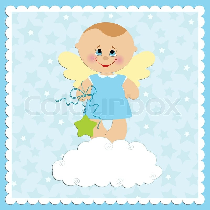 Baby greetings card with angel boy stock vector colourbox m4hsunfo