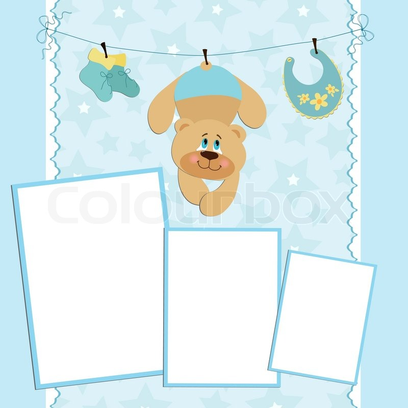 Blank template for greetings card or photo frame in blue ...