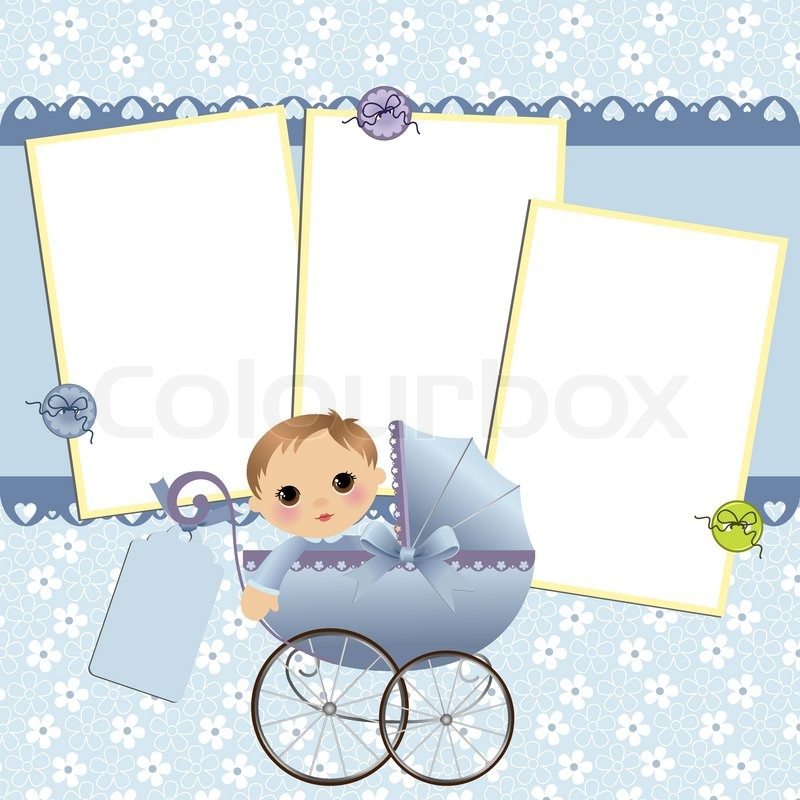 cute template for baby s arrival announcement card or photo frame