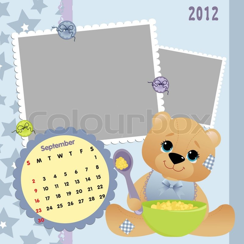 Baby\'s monthly calendar for september 2012 with photo frames | Stock ...