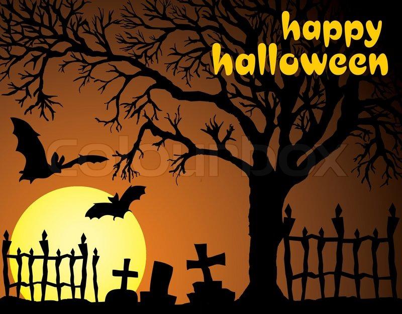 Halloween vector illustration scene with moon, bat and tree ...