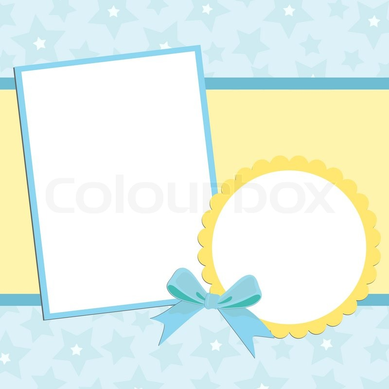 Blank template for greetings card or photo frame in blue colors ...