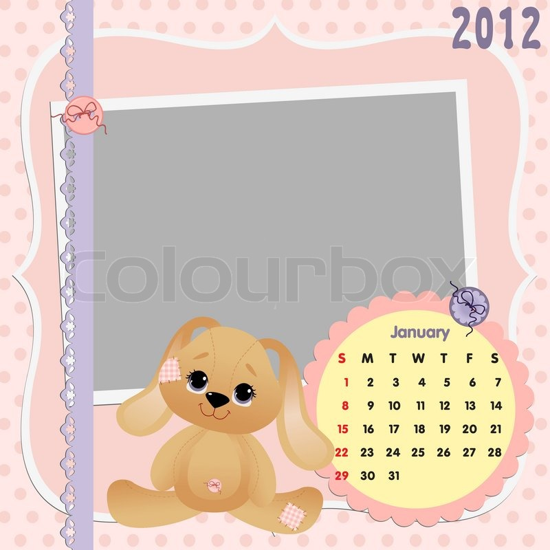 Baby\'s monthly calendar for january 2012 with photo frames | Stock ...