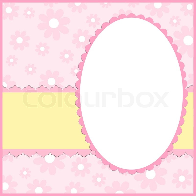 Blank Template For Greetings Card Or Photo Frame In Pink