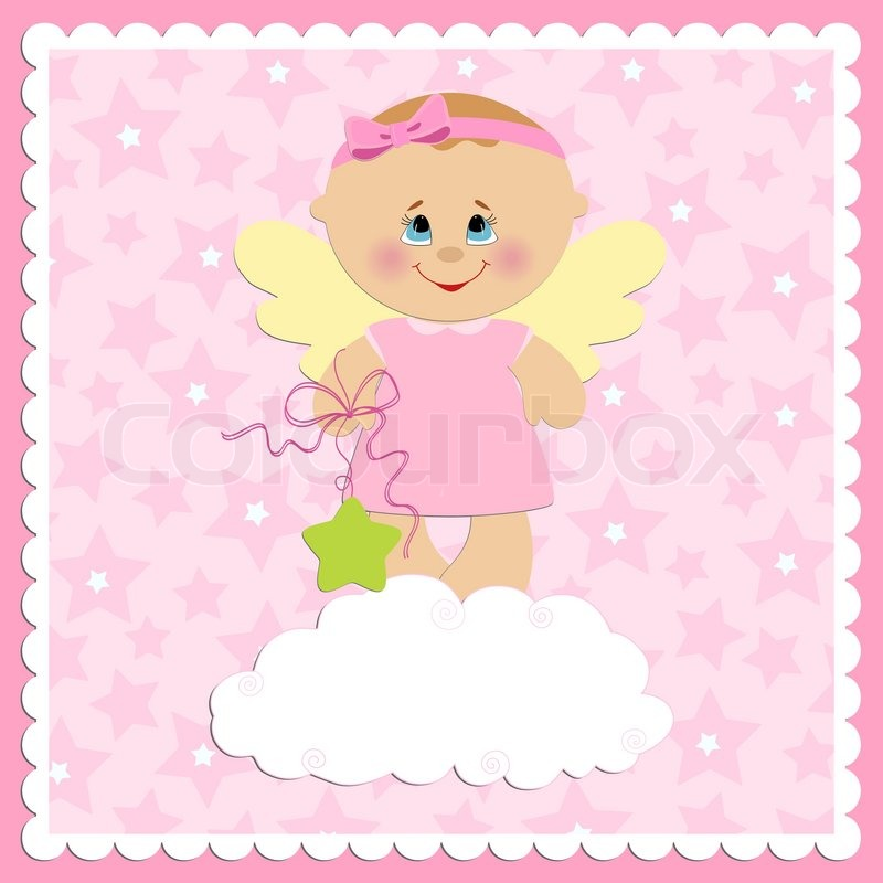Baby greetings card with girl angel stock vector colourbox m4hsunfo